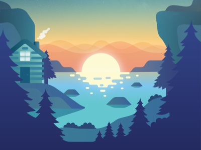 Sunset woods cabin lake color illustrator illustration forest camp scenes sun sunset