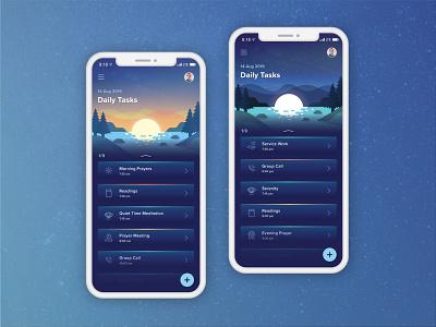 Spiritual Task App mobile app mobile design illustration night day interaction daily app task spiritual