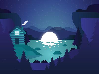 Evening Moon doodle moonlight moonshine relaxing lake woods cabin illustration moon design