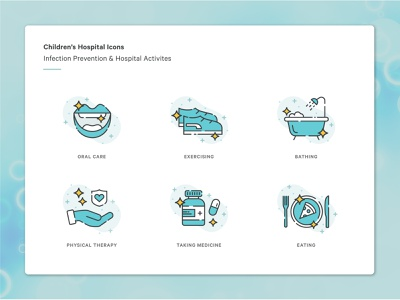 Infection Prevention & Hospital Activities Icons kids activites prevention infection illustration icon children hospital