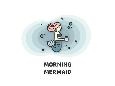 Morning Mermaid illustration coffee sea mythical mythology ocean mermaid morning