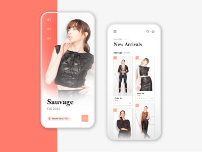 Fashion Collection App clothing retail store white black red ux app fashion