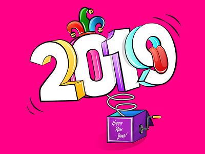 Happy New Year! (2019) second shot happy new year dribbble hat arlequin tongue box art box surprise 2019 design inspiration creative illustration art