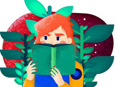 Book thinking unsure nature character green girl plants book
