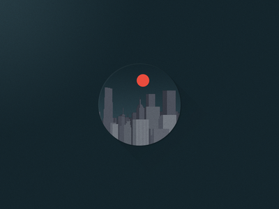 Red Moon View circle red moon night city flat icon