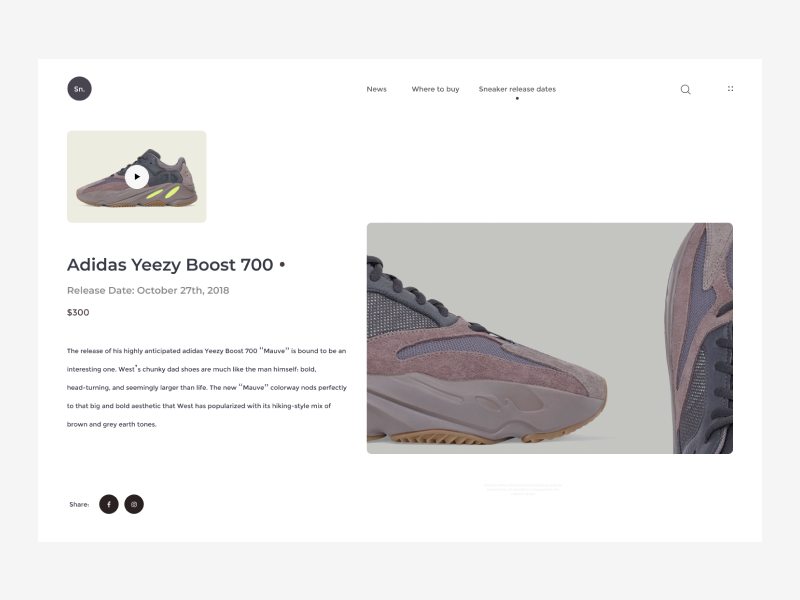 7289b68a2b2ff Sneakers concept website by Andrey Vivdenko
