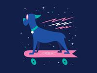Dobby the skateboarding dog