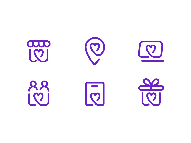 Icons Set for FiveStars local love heart icons