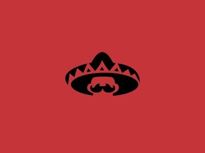 Mexican Face retro mustache identity red america negative space logo negative space illustration symbol mexican mexico logo