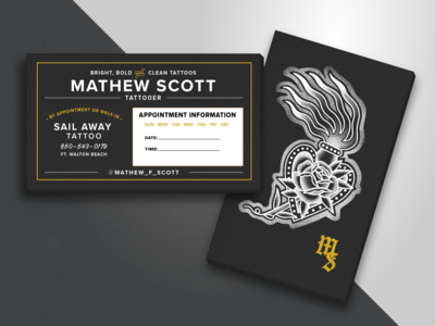 Business Cards for Tattooer Mathew Scott