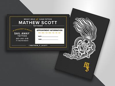 Business Cards for Tattooer Mathew Scott tattoos gold foil branding vintage design traditional business cards tattooer tattoo bold clean