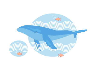 Happy Humpback ocean illustration vector whale