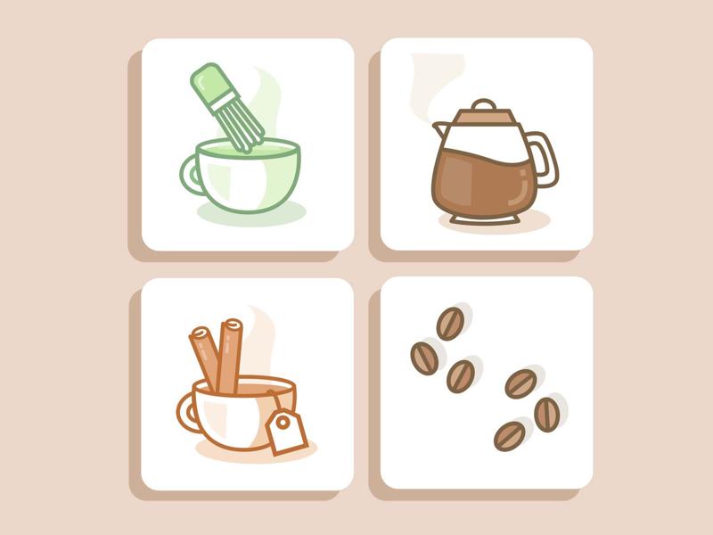 Mornin' brews illustrations icons latte chai brew drinks tea coffee
