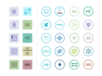 Icon set for network components