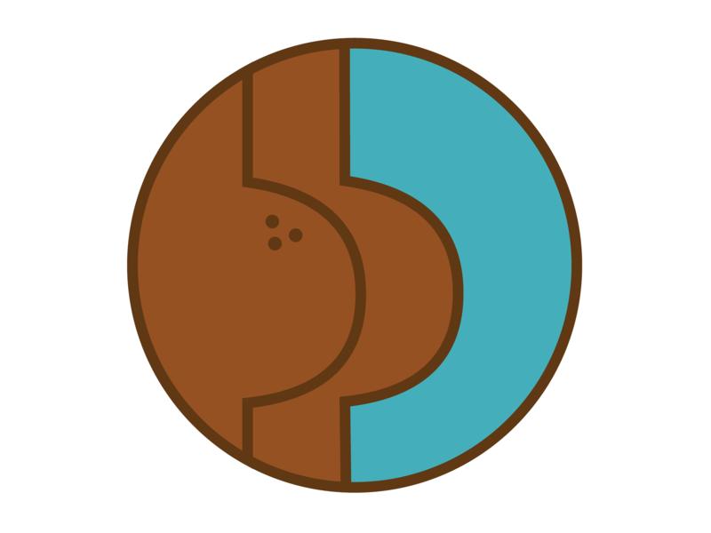 Butt illustration badge pin butt