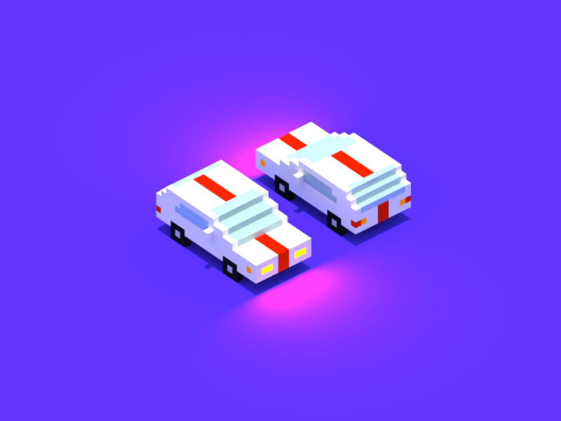 Red Striped Car illustration isometric 3d magicavoxel voxel car