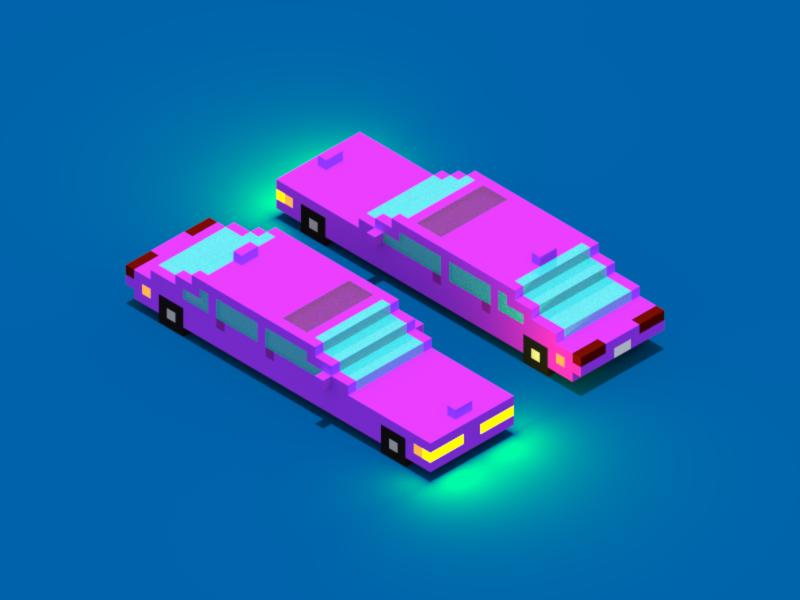 Pimpin' Limosuine illustration isometric car pink limosuine limo pimpin magicavoxel voxel pixel 3d