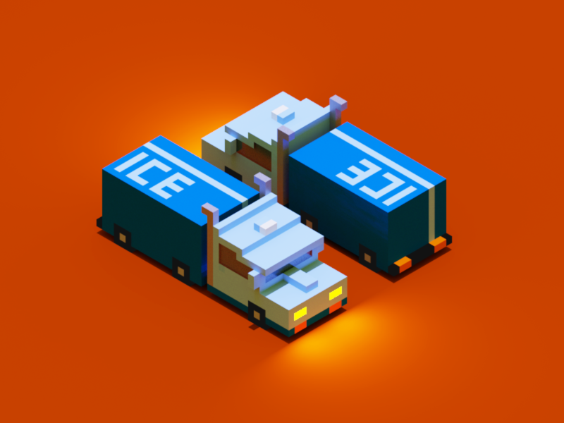 Ice Hauler illustration isometric hauler ice truck voxel car magicavoxel 3d
