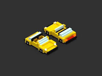 Targa targa voxel magicavoxel isometric car 3d illustration