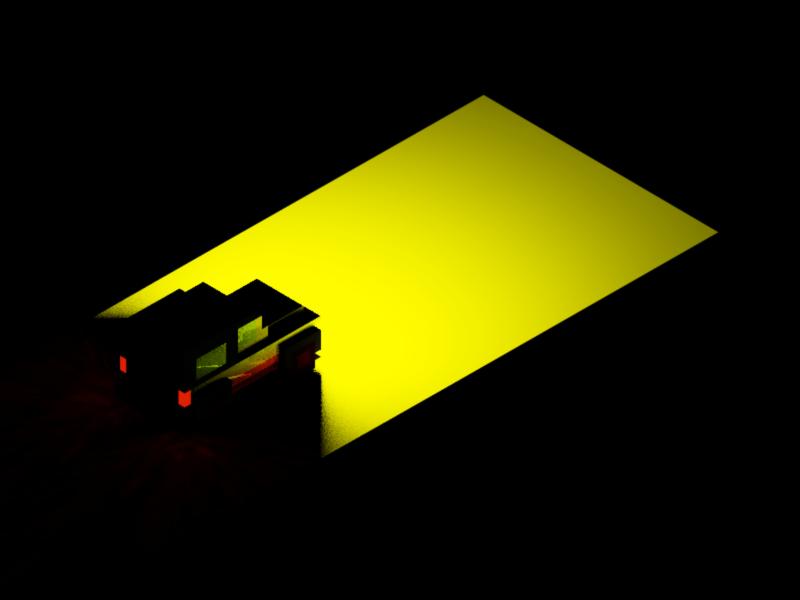 Through Dark jeep dark light voxel magicavoxel isometric car 3d illustration