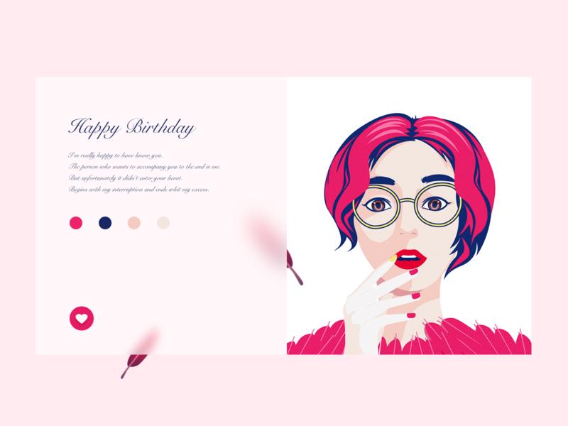 HAPPY BIRTHDAY illustration girl character design design photoshop