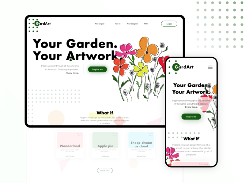 Landing for searching creative gardeners illustration cintiq concept mobile ui typography layout landing service mobile design gardening ux ui web colorful flower illustration flowers garden