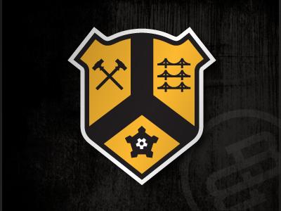 City Badge, Version 2 black yellow badge icon logo heraldry pittsburgh pennsylvania soccer steel bridges fort