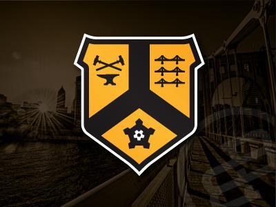 City Badge, Version 3.... pittsburgh badge crest soccer black gold yellow heraldry symbool logo icon pennsylvania