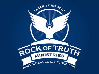 Apostolic Ministry Crest 2 ecclesia church white blue monochrome logo dove apostle holy spirit ministry