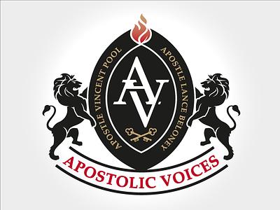 Apostolic Voices TV Broadcast Crest lion television spirit apostle gold red black seal ministry crest logo