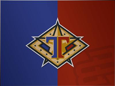 It's a Badge... diamond illustration letter. flag t star gold blue garnet logo