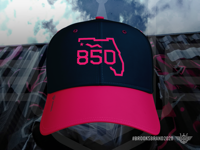 Florida Corners: Northwest - Cap hat cap apparel mockup apparel logo state monoline illustration logo navy bright rose area code 850 florida pensacola