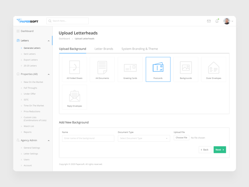 Papersoft - Upload Letterheads Screen