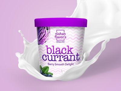 Black Currant - Berry Smooth Delight company icecream purple milk illustration modern design visual design minimal logotype latest trend packaging vector dribbleweeklywarmup creative design typogaphy flavors black currant branding packaging design ice cream