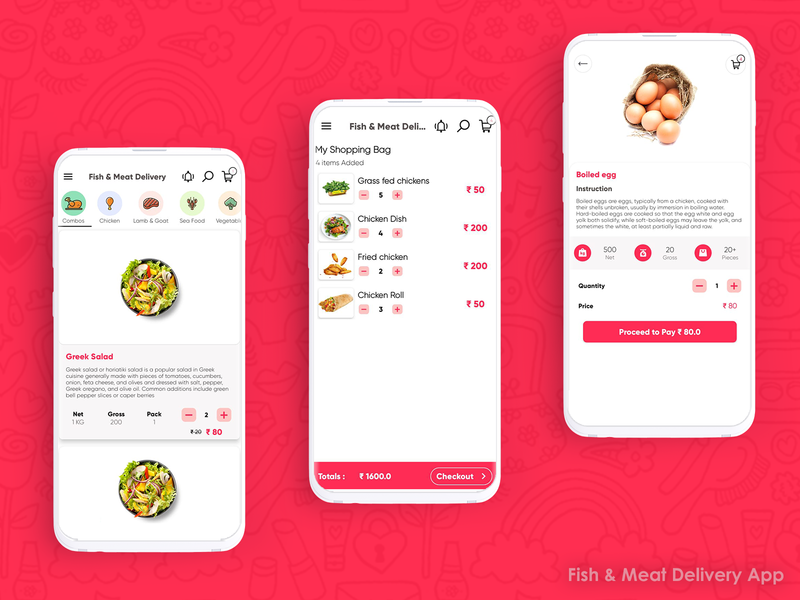 Fish and Meat - Food Delivery Android App UI Kit ketan pipaliya surat app ui fish and meat grocery online grocery app food app ui delivery app android app app screen food delivery food app food and drink design cart app design logo app branding ui