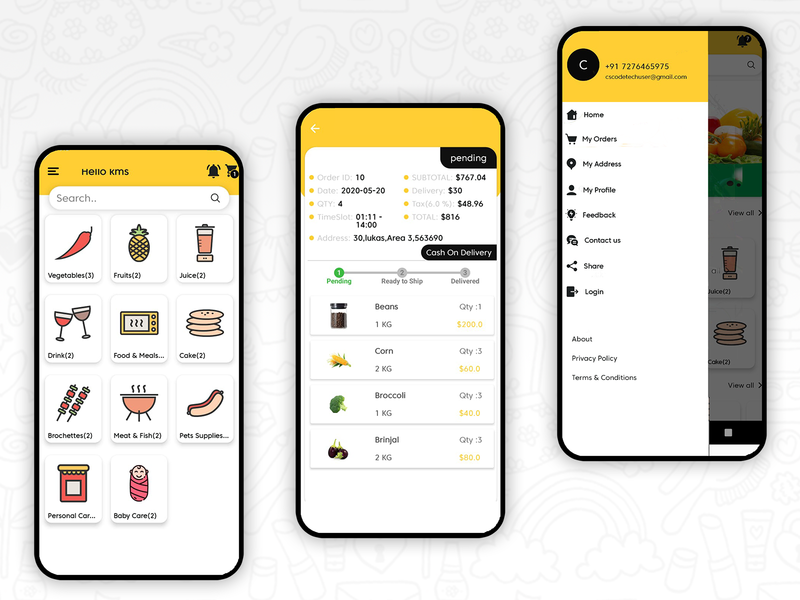 Grocery Food Deliver App UI Android minimal delivery app delivery web uidesign ui dailyui food app food delivery app food delivery food design abstract app design app