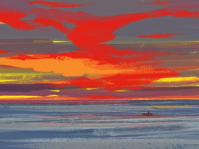 Sunset experiment colours bright love beach ocean sea evening illustration adobe sky sunset