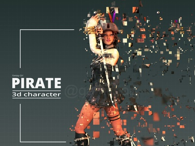 Pirate 3D Character Modeling and Rigging Animation 3d modeling character design studio 3d animation studio animation game outsourcing company rigging animation rigging animation