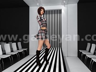 Fashion catwalk model animation by 3d Production HUB
