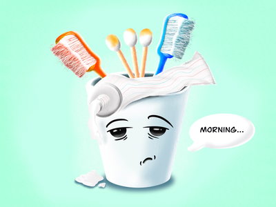 Good morning toothpaste toothbrush procreate digitalart design illustration graphicdesign illustrator