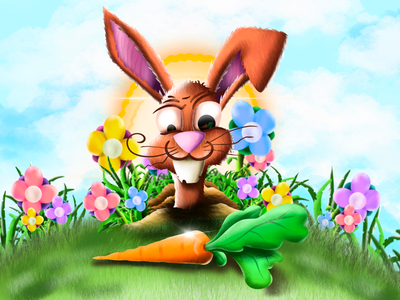 Hungry bunny flowerfield carrot bunny art digitalart design illustration graphicdesign illustrator
