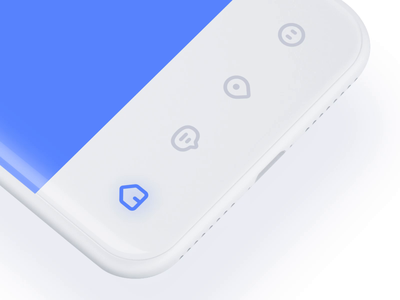Tabbar icon animation design 3d blue cute distortion line tabbar icon ux ui motion animation