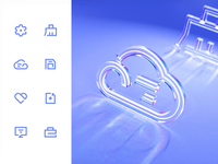Office icon 3D design glow glass 3d office setting cloud icon motion ui animation