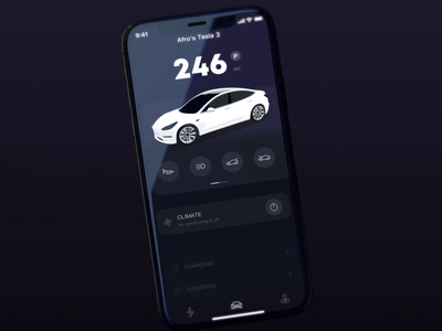 Tesla 3 App redesign electric car ux app 3d radesign ui motion ae animation