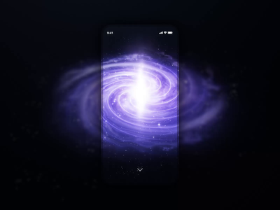App for galaxy 2 rdd button emission discover application star spiral nebula nasa space light particle ui ae motion animation