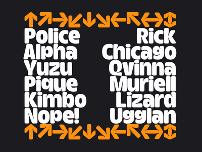 Inktrap Experiment – Lowercase + Arrows – WIP type design bold sans serif fat type font typeface