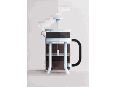 French Press coffee illustration