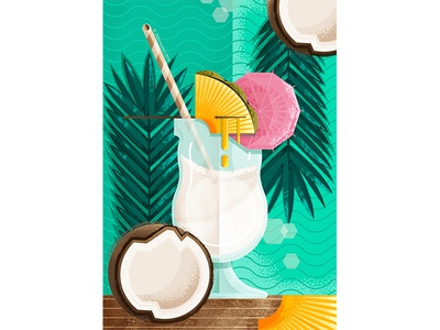 pina colada fruits food and drink illustraion drinks