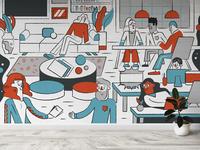 Callisto Media NY office mural mural design office people illustration graphicdesign mural