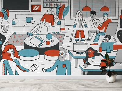 Callisto Media NY office mural mural design office people illustration graphicdesign mural